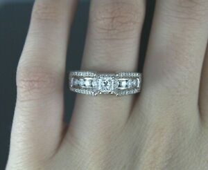 $3,550 14K White Gold Princess Cut Round Diamond Cathedral Engagement Ring