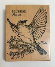 K-1312 PSX Rubber Stamp Perched Bluebird Sialia Sialis On Berry Branch