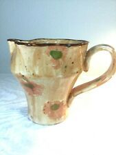 Hand Thrown Pottery - Small Ceramic Pitcher Hand Made Kiln Fired - Floral Motif