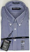 Kirkland Mens Button Down Dress Shirt Striped Blue White Long Sleeve 17 1/2 35