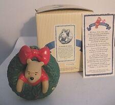 """DISNEY POOH & FRIENDS-NIB! """"A WREATH OF WISHES"""" Pooh Bear 3"""" Tall"""