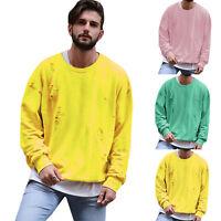Men Ripped Long Sleeve Pullover Sweatshirt Casual Hip Hop Sport Shirt Plain Tops
