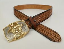 Galen Tooled Leather Belt 36 38 Basketweave John Wayne Buckle Cowboy Brown Vtg