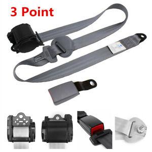 Retractable Adjustable 3 Point Car Safty Seat Belt Lap & Diagonal Belt Kit Grey