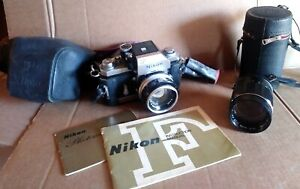 Vintage Nikon F SLR 35mm Film Camera with 2 Lens, Case and User Manual