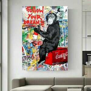 Banksy Follow Your Dreams Printed Canvas Wall Art Print 30mm Wrapped Wood Frame