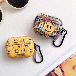 Earphone Case For Airpods 1/2/3 Smiley Headset Protective Cover With Hook  :)