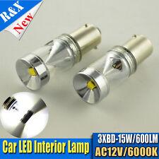 2x 6K White BAX9S H6W 433C 15W CREE XBD LED Car Light Bulbs AC 12V 150° Bayonet