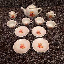 Collectible Ceramic Mini Tea Set With Bears 11 Pieces + 3 Tops - Battat