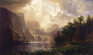 Albert Bierstadt Among the Sierra Nevada Poster Reproduction Giclee Canvas Print