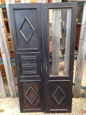 Paire ancienne paire de portes de placard armoire vitrée déco