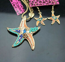 Betsey Johnson Starfish Gold Earrings & Pendant Charm Necklace Set Free Gift Bag