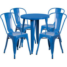 24'' Round Blue Metal Indoor-Outdoor Restaurant Table Set with 4 Cafe Chairs