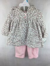 Carter's Playwear Outfit Hooded Top and Pants Pink Leopard Spots Size 6 Months