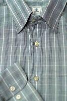 Peter Millar Men's Gray White & Black Check Cotton Casual Shirt L Large