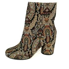 Topshop Womens Jacquard Ankle Boots Size EU 41 US 10.5 Chunky Heel Paisley Zip