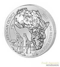 Ruanda 50 Franchi 1 OZ ARGENTO African Ounce GIRAFFE 2018 BU