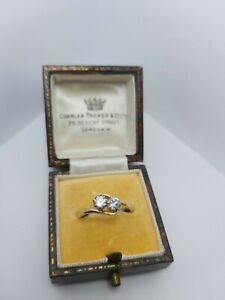 Antique 9ct Gold crossover 2 Stone Set Ring - Size O silver and 9ct gold 1920s