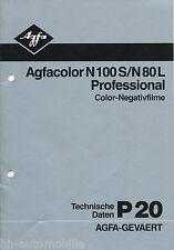 Prospekt Agfacolor N100S N80L Professional Color-Filme Techn Daten P20 3/82 1982
