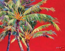 Fire Palm by Jean Bradley Tropical Palm Tree Red Open Edition 22x28 Paper Giclee