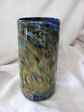 David Salazar art glass vase signed modernist swirl pattern blue yellow green