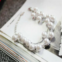 Natural round pearl multilayer bracelet Handmade Real Classic Cultured Chain