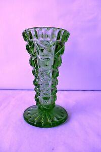 "Vintage Bohemian Glass Vase Diamond Cut Design Art Deco Czechoslovakia Rare ""F1"