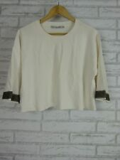 ZARA Knit Jumper top Sz M White Black/grey trim