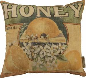 Primitives by Kathy Farmhouse Feedsack Throw Pillow, 14 x 13-Inches, Honey Bee