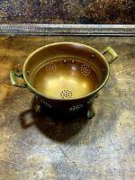Vintage Small Copper Kitchen Colander / Berry Strainer w double handles