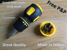Multi-Bit Stubby Screwdriverwith Comfort Grip Ratchet and Storage Handle