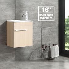 "16"" Bathroom Vanity Cabinet Wood Color with Undermount Resin Sink Modern Design"