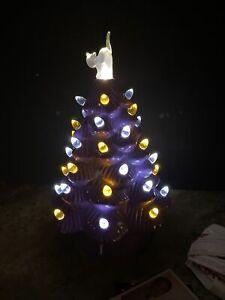 """Rare Mr Christmas Mr Halloween Ceramic Tree Purple 12"""" Pumpkin LED Lighted Cat"""