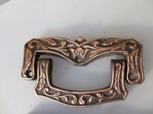 Large Antique Chest Handle Drawer Drop Pull Coffin Copper Plated Vintage Old