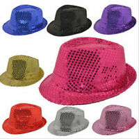 New Unisex Fedora Sequin Hat Shiny Sparkle Cap Costume Prom Dance Party Jazz Cap