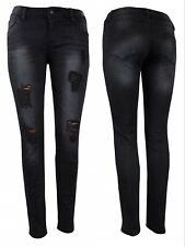 Damen Jeanshose Hüfthose Ripped Schwarze Jeans Destroyed Skinny Denim Hüftjeans