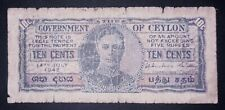 •Ceylon 10 cents banknote, 1942year,(poor condition)