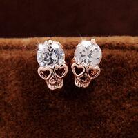 Women Ladies Rose Gold Tone Crystal Diamond Skull Pierced Stud Earrings UK New