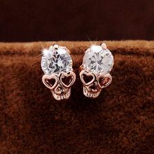 Women Las Rose Gold Tone Crystal Diamond Skull Pierced Stud Earring Jewelry D