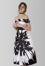 Bardot Neckline Satin Finish Full Skirt Evening Party Dress, Sz 10/12