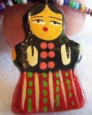 Matryoshka Necklace Antique Russian Nesting Doll  Babushka Pendant Nekclace Vtg