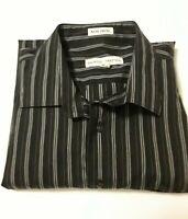 Pronto Uomo Men's Black Striped Long Sleeve Shirt 2XL XXL Non Iron