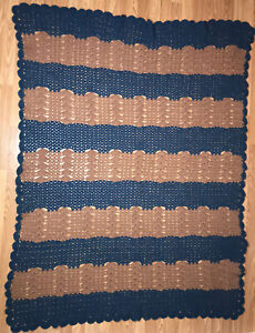 "Vintage Handmade Blue & Brown Striped Crotchet Knit Throw Blanket 55""x70"" Stripe"