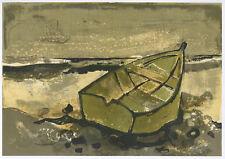"""Andre Minaux lithograph """"La barque echouee"""""""