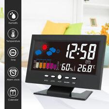 KF_ LCD Digital Projection Alarm Clock Snooze Calendar Weather Color Display S
