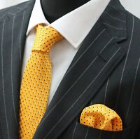 Tie Neck tie with Handkerchief Yellow with small blue square LUC43