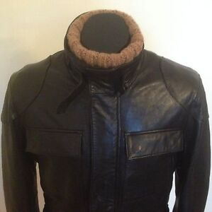 As New Designer Luxury Super Soft Leather Jacket Biker Riding Men's Black S M