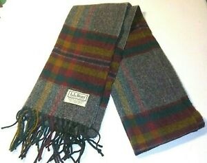 """LL Bean Lambs Wool Scarf-Gray Green Red Plaid Made in England- 60"""" x 12"""""""