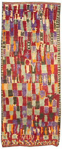 Moroccan Pile Rug in Bright Green, Purple, Red, Cream, and Brown BB3689