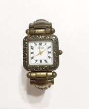 Chico's Watch Brass Cuff Bracelet Square Face Scroll Detail